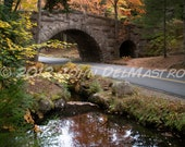 Landscape Photo - Stone Bridge Framed by Fall Colors - Acadia National Park - Maine  8 x 10 Fine Art Photo Print, other sizes available