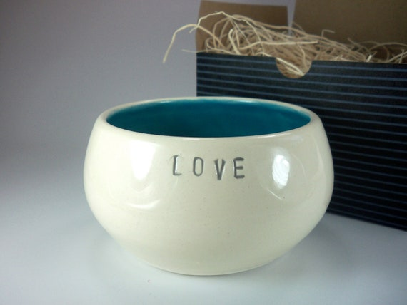 ceramic bowl, white, teal green, LOVE  text, wedding, engagement  gift,  In Stock, Gift Boxed