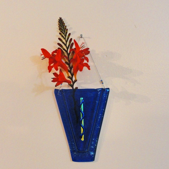 5 inch Iridescent Fused Glass Wall Vase Dichroic Accents Blue Home Decor Wall Art Flowers Reed Diffuser
