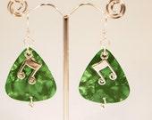 Green Guitar Picks, Silver Note Charm, Dangle Pierced Earrings.  CKDesigns.us
