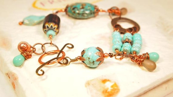 Mosaic Turquoise Bead, Wire Wrapped, Turquoise Beads, Copper and Brass Beaded Bracelet. OOAK Handmade Bracelet