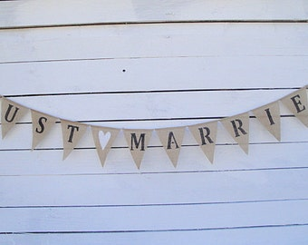 Just Married burlap banner bunting