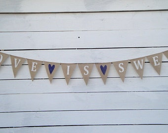 Love is sweet burlap bunting banner with Navy Blue hearts