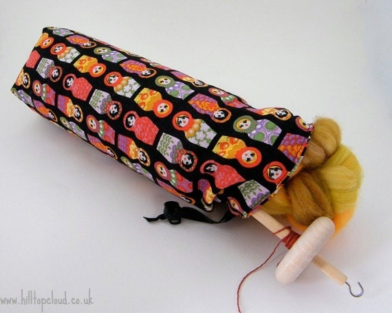 Drop Spindle Bag- Hard Case, Project Bag, Russian Doll print