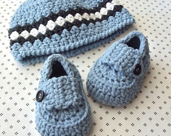 Baby Beanie, Baby Booties, Baby Boy Hat, Crochet Infant Hat, Baby Loafer Shoes, Crochet Baby Booties, 0 to 3 Months Size