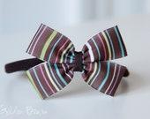 Baby Bows - Brown Striped Bow Baby Handmade Headband