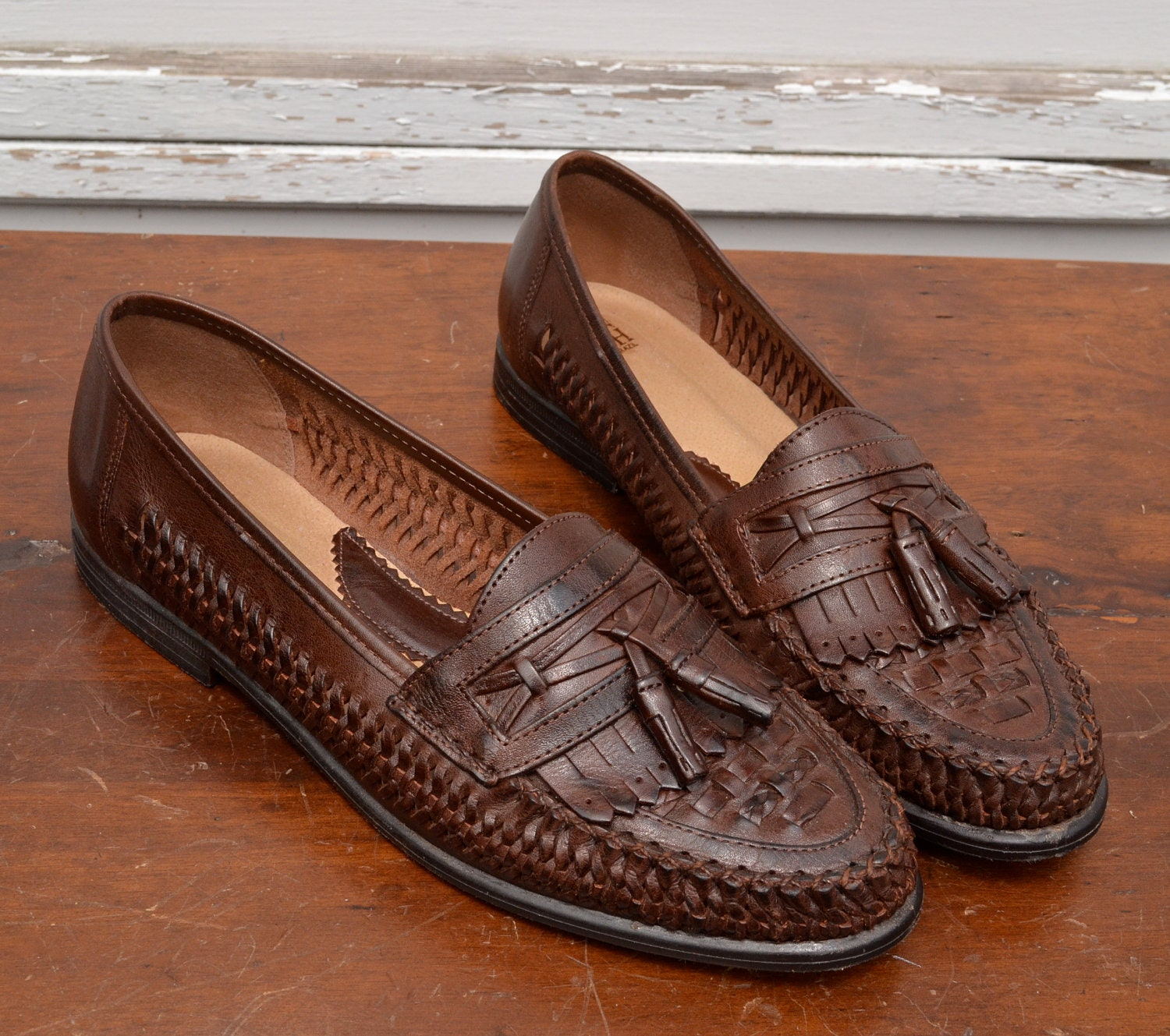Vintage Mens Woven Leather Loafers By Nunn Bush Size 10