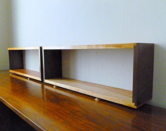 Single Simple Elegant Walnut and Cherry Dovetail Floating Wall Boxes Box Shelves Shelf Finely Finished Ready To Hang Mid Century Style