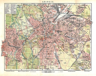 Leipzig Vintage City Map Germany 1920s Lithograph Street Plan