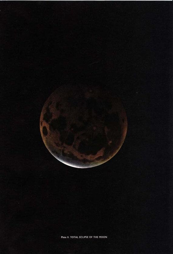 Moon Vintage Print Astronomy  Lunar Eclipse  Photo 1950s