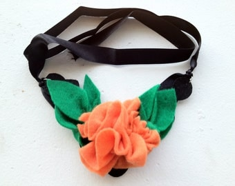 Handsewn Women's Felt Orange Flower Necklace
