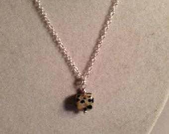 Childs Necklace Dalmatian Jasper Jewellery Gemstone Pendant Jewelry Chain Everyday Gift Unique Pendant Drop Silver