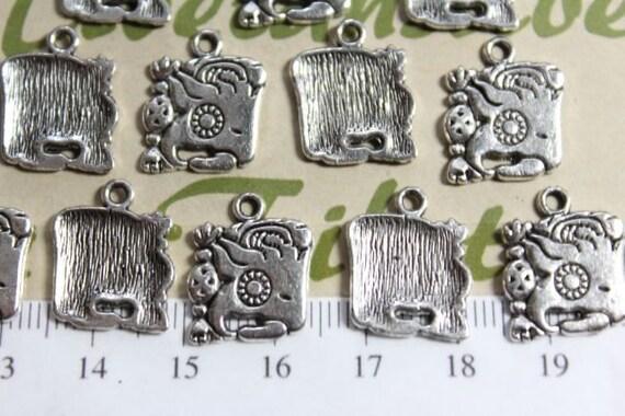12 Pcs Per Pack 14mm Mayan Glyph Charm Antique Silver
