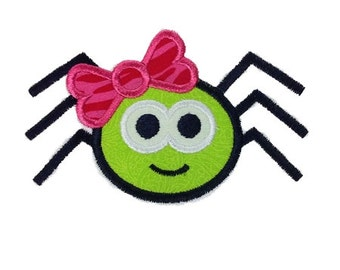 Spider With Bow Halloween Applique Machine Embroidery Design - 4 Sizes