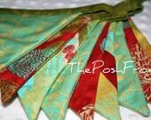 Red, Aqua, Green Fabric Banner