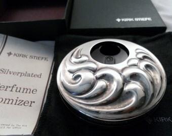 Vintage Kirk Steiff Silver Plate Swirl Pattern Perfume Atomizer In Mint Condition Original Box. Hallmark Signed.