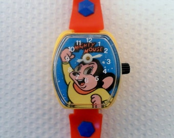 Vintage 1978 Viacom, 1980 Carlin Playthings Inc.  Rare Mighty Mouse Toy Watch.  Animated Wind Up Mechanical
