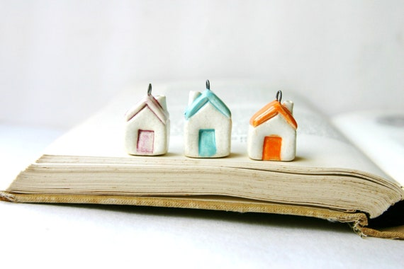 Tiny House Charm Pendant - Miniature Ceramic Cottage in Aqua Orange or Berry Pink - One - Made to Order