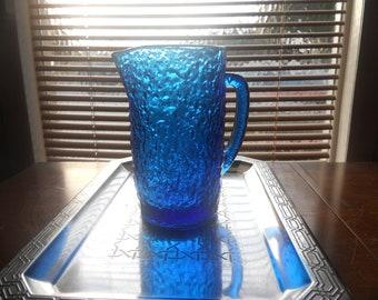 Vintage Cobalt Blue Krinkled Glass Pitcher