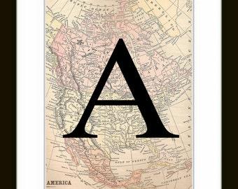 Letter Art print - monogram map wall art - custom initial artwork, Vintage Map Print, Map