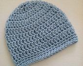 Baby Blue Beanie, Crochet Baby Hat, Newborn Hat, Baby Hat, Crochet Baby Beanie, Photo Prop