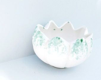 Abstract Vessel Vase Planter White Green Low Centerpiece Green Wedding