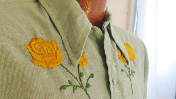 Vintage Rockabilly Cowboy Shirt Green with Yellow Roses Mens Womens Unisex