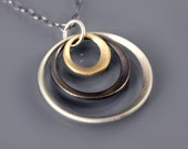 Tricolor Trio - 14k gold and sterling silver necklace