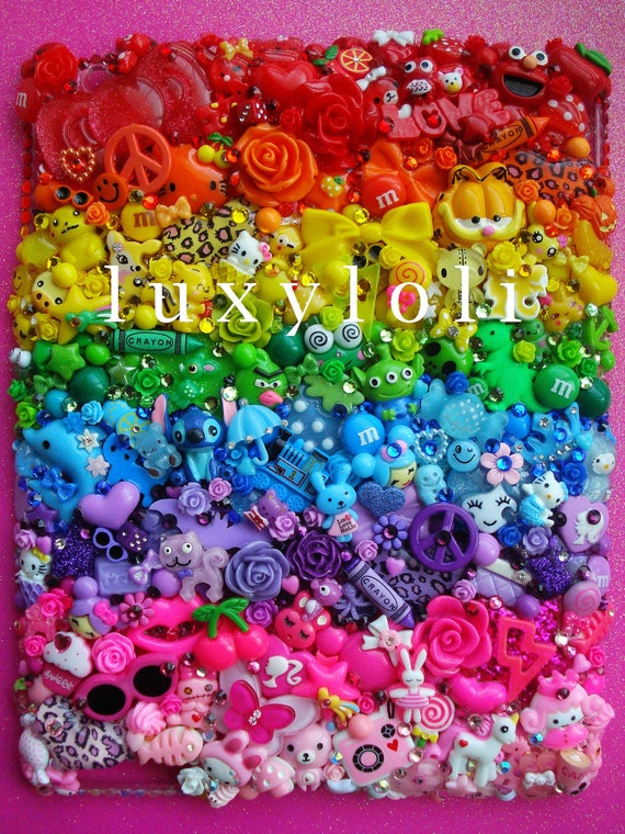 RESERVED for Claudia: Rainbow Brights Decoden iPad 2 Case