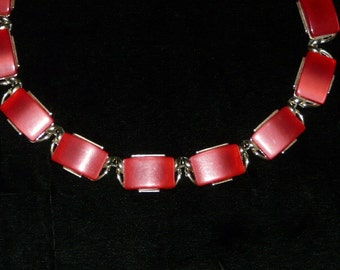 Vintage Red Rectangular Gold Tone Chain Necklace 1960s Costume Jewelry Geometric Square Rectangle Choker