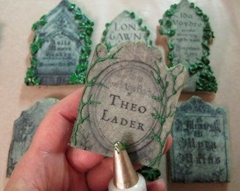 Tasty Tombstones 13 Punny Epitaphs - Set of 2 Pre-Printed Frosting Sheets
