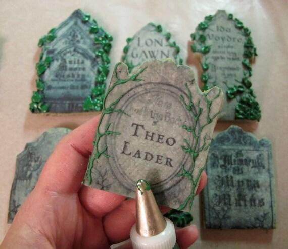 Tasty Tombstones 13 Punny Epitaphs - Set of 2 Pre-Printed Frosting Sheets