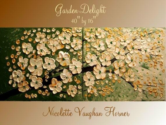 Original Impasto style painting on canvas 'Garden Delight' by Nicolette Vaughan Horner