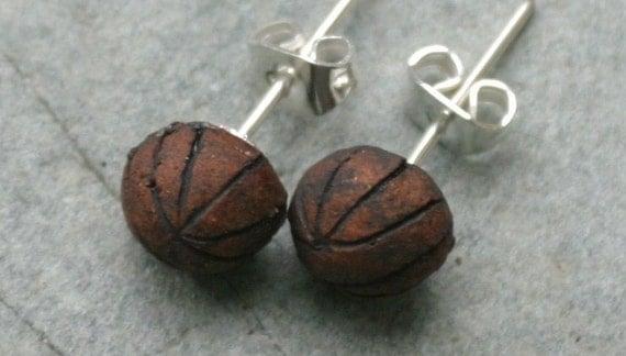 Small Ceramic Textured Ball Stud Earrings