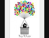 Fingerprint Hot Air Balloon Wedding Guest Book Kit