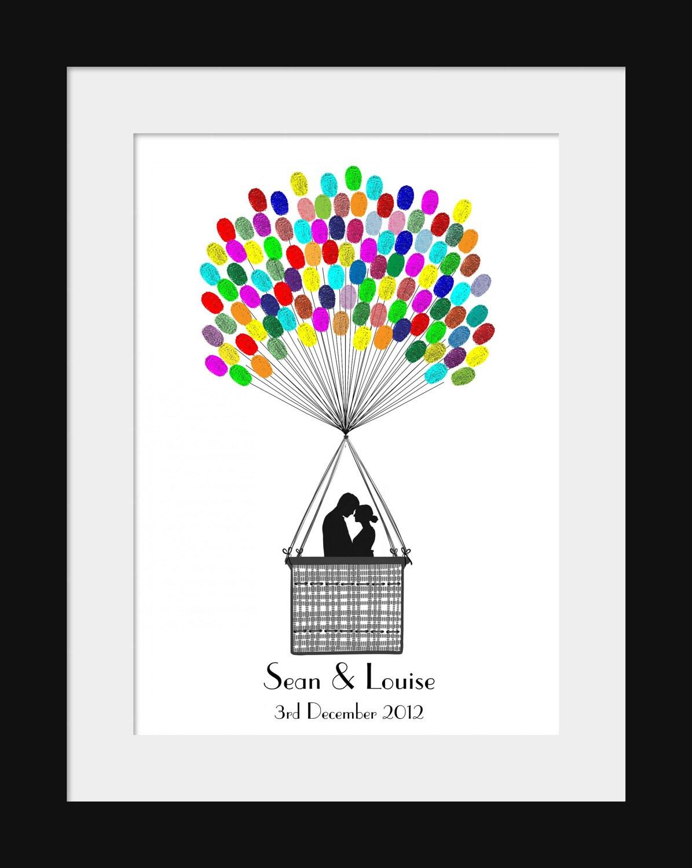 fingerprint hot air balloon wedding alternative guest book kit