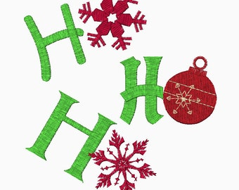 Ho Ho Ho digital embroidery design in two sizes