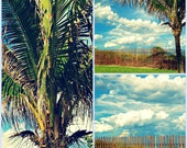 Beach Photography Set of 3 Prints | Beach House Wall Art | Coastal Decor | Palm Tree Picket Fence Blue Sky Ocean Clouds | Buy 2 Get 1 Free