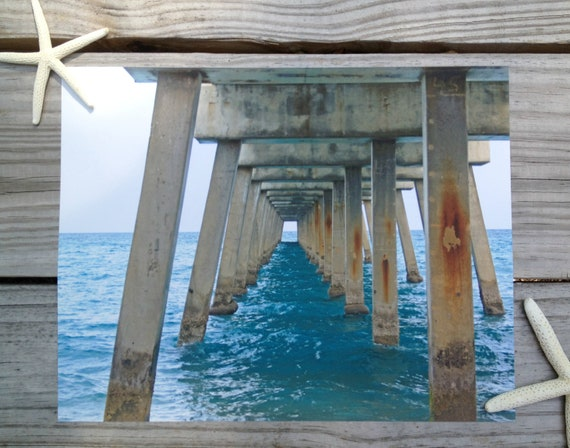 Beach Home Decor. Beach Photography Print of an Ocean Pier. Turquoise Sea. Ocean Wall Art - Pier 1