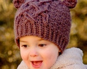 Crochet Hat Pattern Little Bear Cable Hat - Instant Download - Pattern number 114