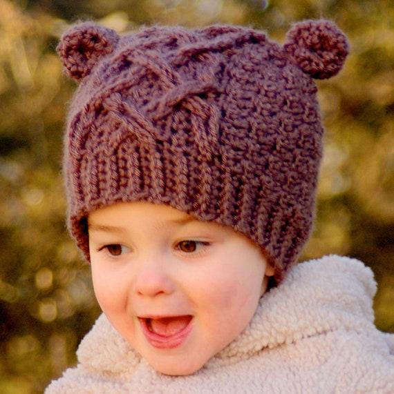 Crochet Hat Pattern Little Bear Cable Hat - Instant Download - Pattern number 114