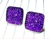 purple earrings - purple studs - purple jewelry - resin - square - square jewelry - square earrings - shimmery