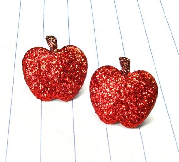 red glitter apple earrings - apple earrings - apple studs - apple jewelry - teacher gift - back to school - apple - glitter earrings - frui