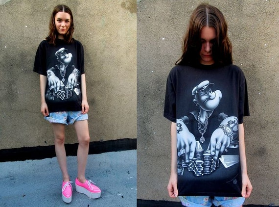 POPEYE Metallic Silver Glitter Black Hip Hop Airbrused Cartoon T Shirt