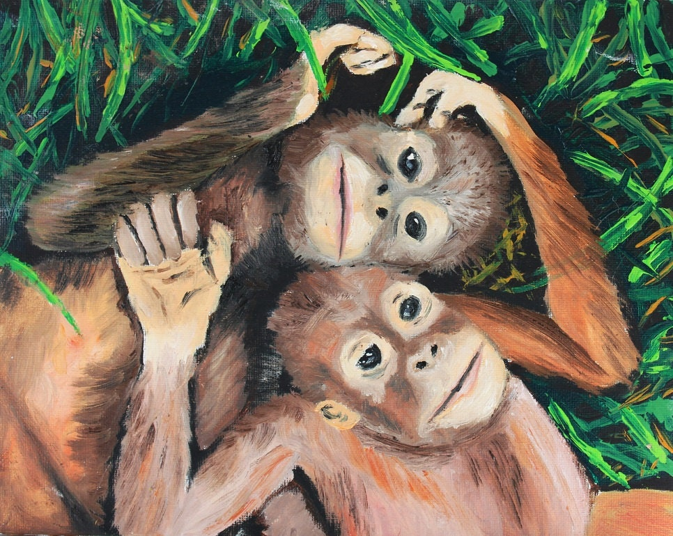 Orangutan Paintingmonkeys Original Art Nature Jungle