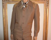 Reserved for Frank Vintage 1970's Desmond's Brown Wool Houndstooth Jacket and Pant Set - Size Large/38 x 33