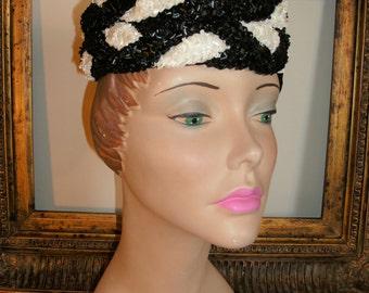 Vintage 1950's Modern Miss Black & White Hat