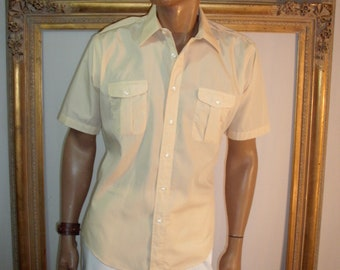 Vintage Christian Dior Pale Yellow Short Sleeve Camp Shirt - Size Large
