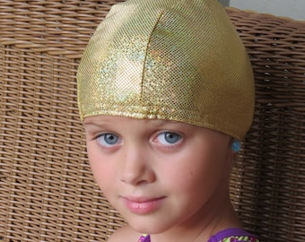 Lycra SWiM CaP - GOLD SPARKLE - Sizes - Baby , Child , Adult , XL - Made from Spandex / Swimsuit Swimming Fabric -by Froggie's Swim Caps