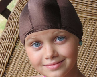 Lycra SWiM CaP - BROWN - Sizes - Baby , Child , Adult , XL - Made from Spandex / Swimsuit Swimming Fabric -by Froggie's Swim Caps
